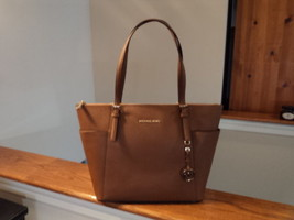 Michael Kors Jet Set Travel EW TZ Tote Saffiano Leather Luggage Brown La... - $188.09