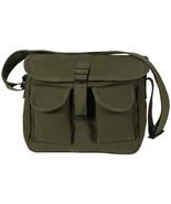 Olive Drab 2 Pocket Canvas Military Ammo Carry Shoulder Bag - $10.99