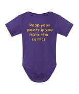 Lakers Fan Poop Your Pants If You Hate the Celtics Funny Baby Bodysuit Shower - $9.98