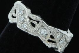 Vintage (ca. 1920) Platinum Hand Chased 16 Diamond Band (Size 7 3/4) - $605.00
