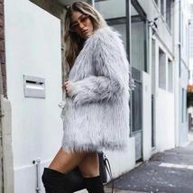 Women's High Street Long Sleeve Fluffy Faux Fur Coat