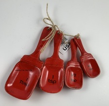 Mason Jar Ceramic Red Measuring Spoon Set - $12.99