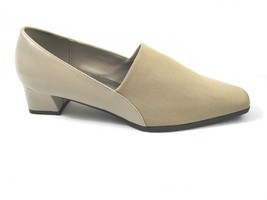 Soft Style Hush Puppies Taupe Heels 8 M Nude Tan Dress Shoe Fabric Upper KENDA - $18.81