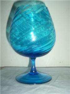 Vinatge Glass Art Handblown Turquoise Blue Table Display Compote
