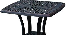 3 piece bistro patio set Palm Tree cast aluminum outdoor end table Bronze chairs image 6