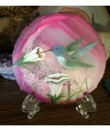 Blue/Green Hummingbird Painted Geode, Pink Brazilian Geode Slice, Hand P... - $56.00