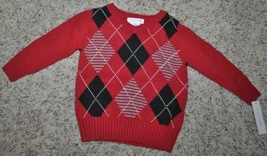 Christmas Sweater Boys Wonderkids Red V-Neck Long Sleeve Argyle-size 18 ... - $17.82