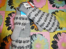 NWT Isotoner Women's Chunky Cable Knit SherpaSoft Mittens GRAY chrome pa... - $13.00