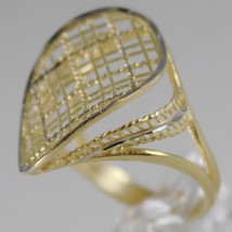 SOLID 18K WHITE & YELLOW GOLD BAND RING OVAL WAVE FINELY WORKED MADE IN ITALY image 2