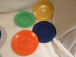 6 Pieces Fiesta HLC 3 Saucers 3 Plates Blue Yellow Turquoise Red - $19.99