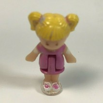 Polly Pocket Doll 1989 Blonde Hair Pink Dress White Shoes Stands  - $9.99