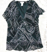 Dress-U-11 Black White  Size 3X V Neck  Lined Empire Bodice Blouse Short... - $11.72
