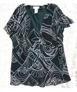 Dress-U-11 Black White  Size 3X V Neck  Lined Empire Bodice Blouse Short... - $11.72