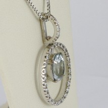 18K WHITE GOLD NECKLACE, OVAL AQUAMARINE PENDANT, DIAMONDS FRAME, VENETIAN CHAIN image 2