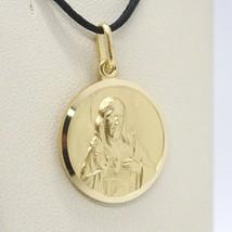 18K YELLOW GOLD SCAPULAR OUR LADY OF MOUNT CARMEL SACRED HEART MEDAL 15mm CARMEN image 2