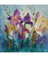 Irises Original Oil Painting Purple White Flowers Palette Knife Meadow F... - $75.00