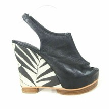 8.5 - MATIKO Black Leather Platform Patterned Wedge Unique Sandals Heels... - $12.80