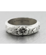 Authentic Tiffany & Co. 925 Sterling Silver Flower Band Ring Size:7.75 - $158.84