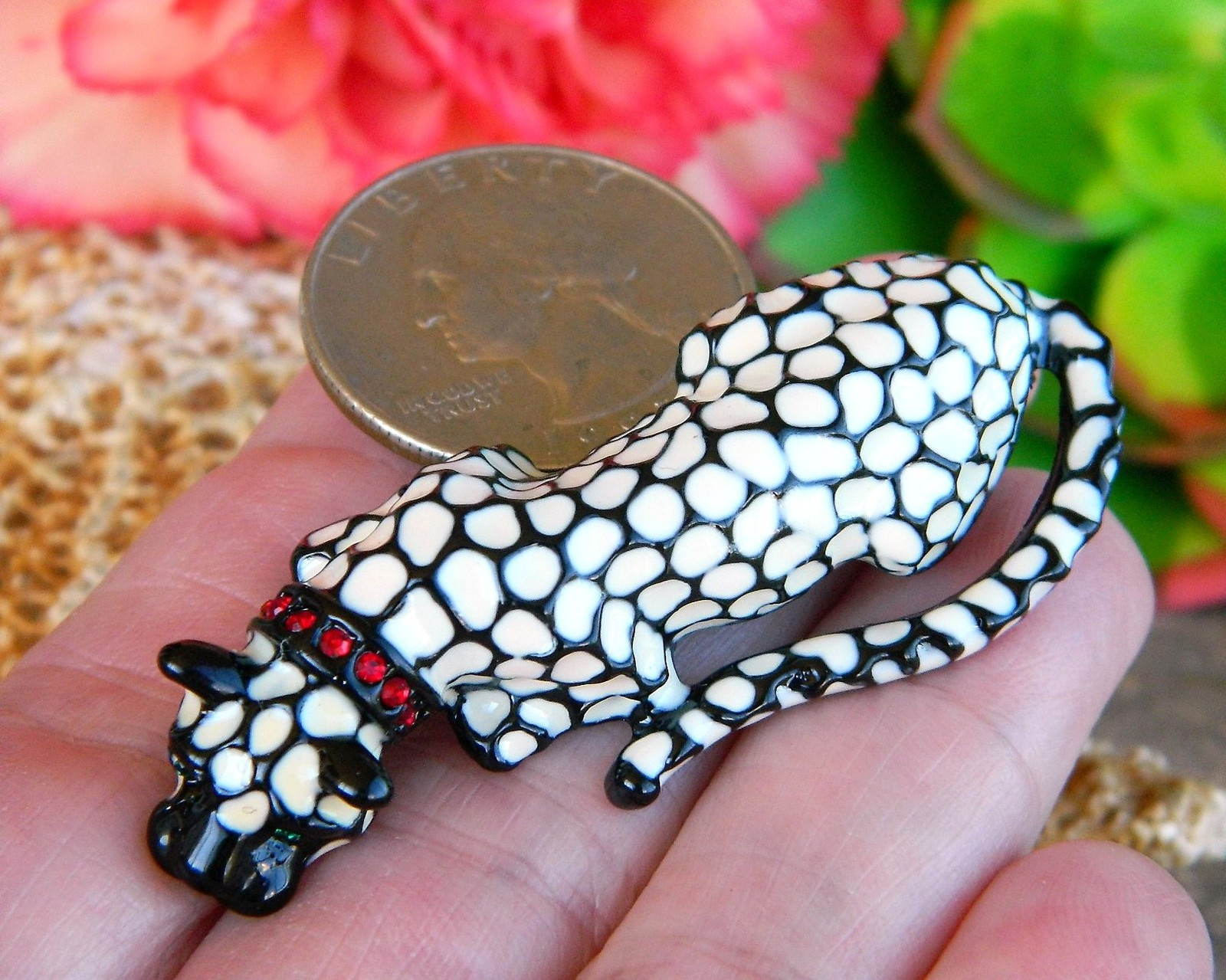 Vintage Leopard Spotted Cat Brooch Pin Enamel Red Rhinestone Collar