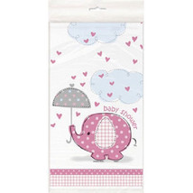Umbrella Elephant Pink Girl Elephant Baby Shower Table cover Tablecloth ... - £3.60 GBP