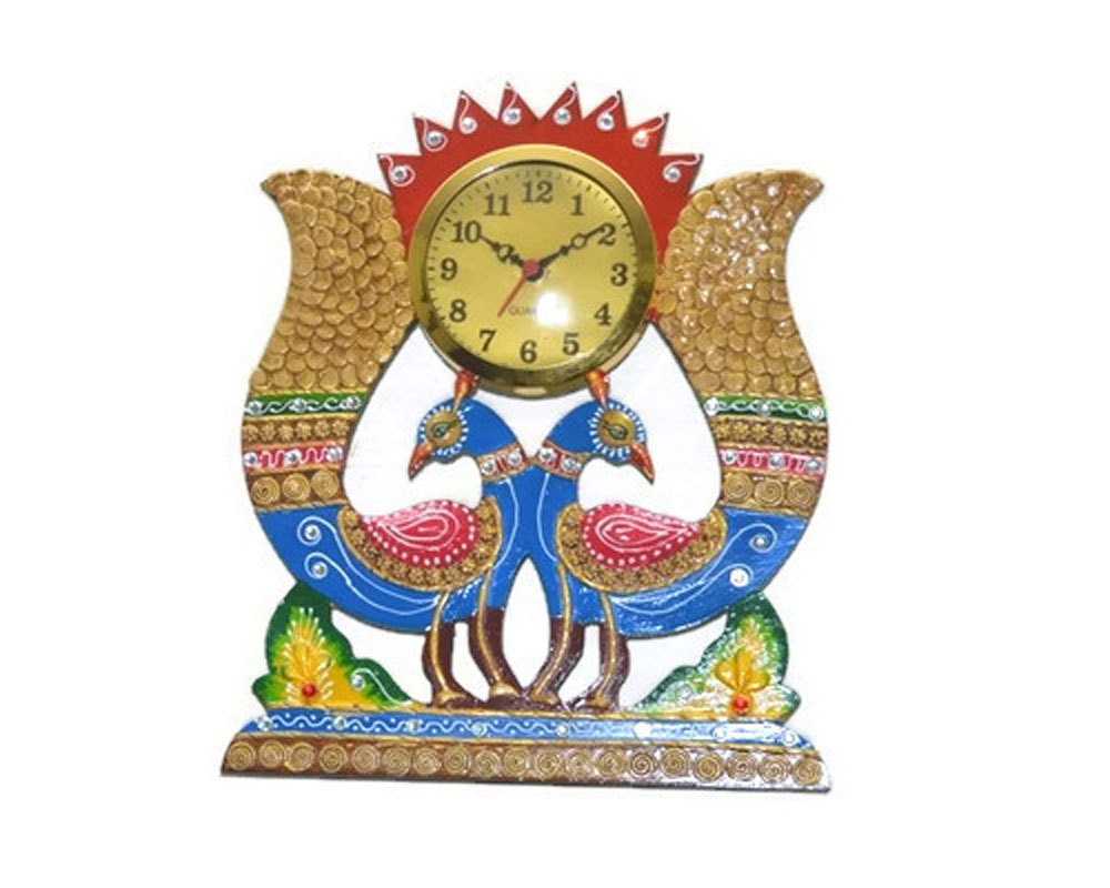 Handmade Hand painted Wooden Wall hanging Clock peacock shape