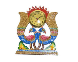 Handmade Hand painted Wooden Wall hanging Clock peacock shape - $48.99