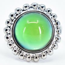 Beaded Edge Silver Tone Round Cabochon Color Changing Adjustable Mood Ring image 5