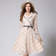 Spring temperament three-quarter sleeve Slim lace hollow long dress  - $79.00