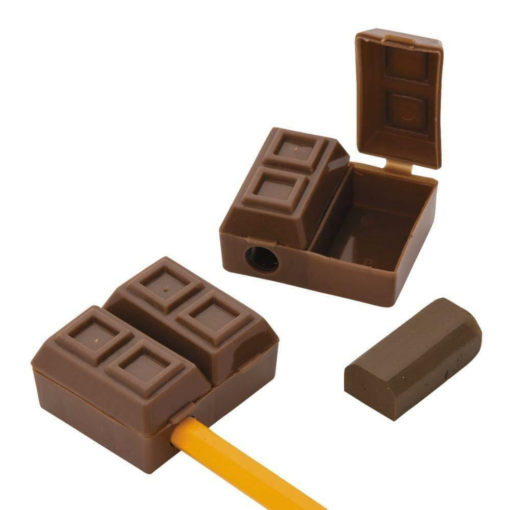 Chocolate Bar Pencil Sharpeners with Eraser (12 Pack)