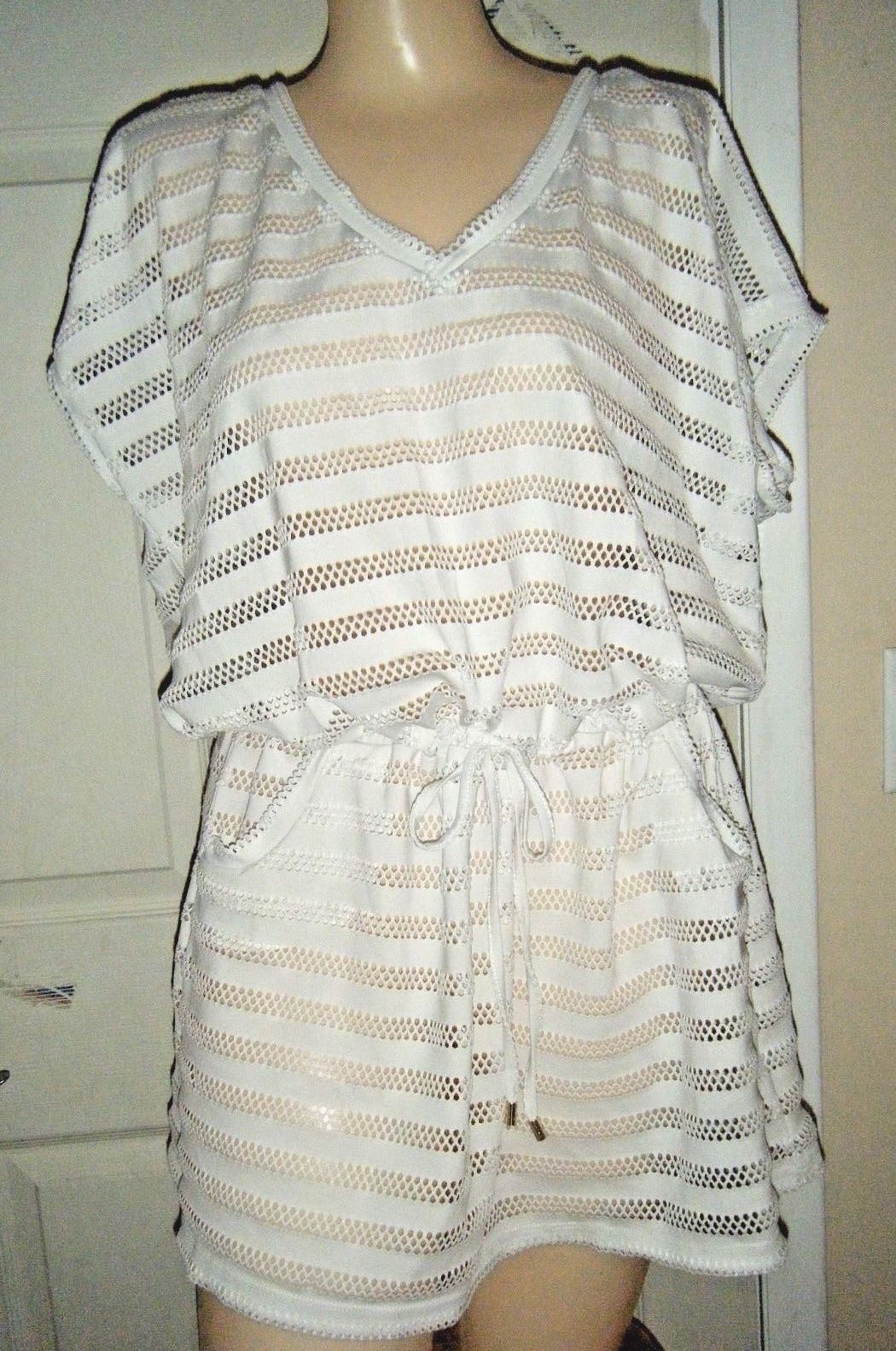 CALVIN KLEIN OFF-WHITE CAP SLEEVE LACE STRETCH POLYESTER TOP/MINI DRESS SZ L