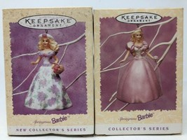 Lot of 2 Hallmark Ornament Springtime Barbie Doll 1995 1996 Easter Colle... - $14.95