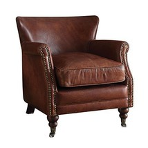 Acme Leeds Accent Chair, Vintage Dark Brown Top Grain Leather - $1,227.19