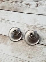 Vintage Clip On Earrings Silver Tone Swirl - $13.99