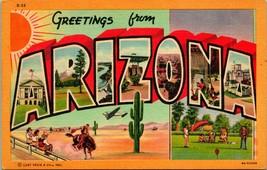 Vtg Lino Cartolina Grande Lettera Greetings Arizona Non Usato Curt Teich - $5.95