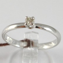 WHITE GOLD RING 750 18K, SOLITAIRE, STEM ROUNDED, WITH DIAMOND, CARAT 0.07 image 1