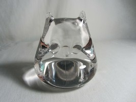 Solid Clear Glass Owl Vintage Paperweight Smooth Figurine - $14.84