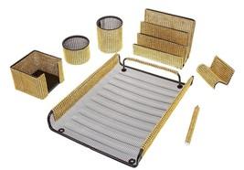Gold Mesh Desk Set 7 Piece Organizer Office Supply Unique Business Acces... - $122.53