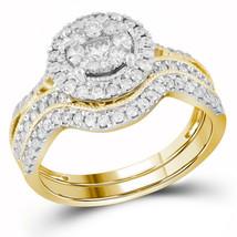 14kt Yellow Gold Round Diamond Bridal Wedding Engagement Ring Band Set 7/8 Ctw - $1,499.00