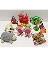 Lot of 12 Baby Plush Rattles Bath Sensory Toys Flip A Zoo Nuby and Others - $21.51