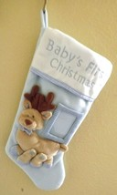 baby's first Christmas light blue and white Christmas holiday stocking - $15.57