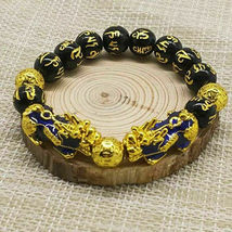 Black Obsidian Feng Shui Double Pi Xiu Bracelet Beads Attract Good Luck Wealth image 6