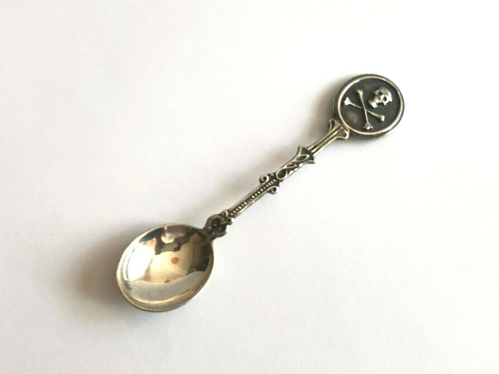Primary image for Unique Antique Poison Memento Mori Skull Doctors Medicine Silver Spoon