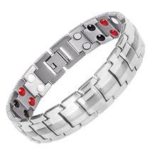 Men Charms Magnetic Health Energy Stainless Steel Bracelets Bangles Body Man Fa - $60.87