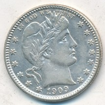 1909-D BARBER SILVER QUARTER-BEAUTIFUL GENTLY CIRCULATED COIN-SHIPS FREE... - $179.95