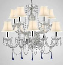 Murano Venetian Style All Crystal Chandelier Lighting W/Blue Crystals w/Chrome S - $272.42