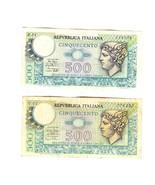 2 NOTES 1974-1979 REPVBBLICA ITALIANA 500 LIRE PAPER MONEY K31-V12 - €9,65 EUR