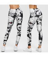 Women Leggings Skull Print Mid Waist Slim Pencil Pants Push Up Slim Legg... - $18.45+