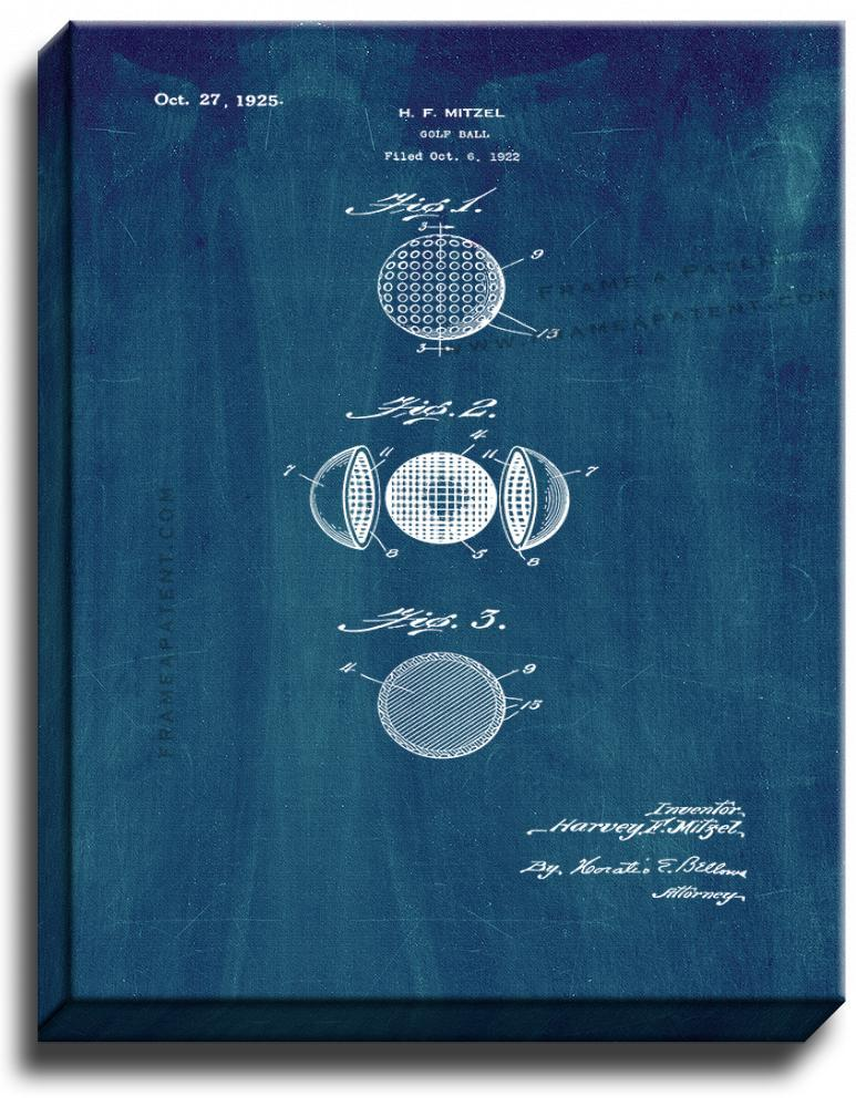 Primary image for Golf Ball Patent Print Midnight Blue on Canvas
