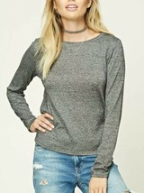 Forever 21 Contemporary Marled Knit Long Sleeve Tee T-shirt Salt & Peppe... - $4.85