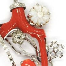 SILVER 925 PENDANT CAMEO CAMEO, BRANCH OF RED CORAL, FLOWERS, LEAF image 3